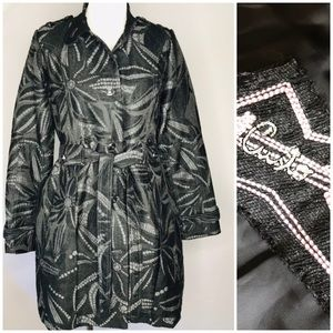 Custo Barcelona Gray Black Embroidered Coat 40
